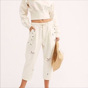 Free People Mixed it Up Utility Jeans Splatter